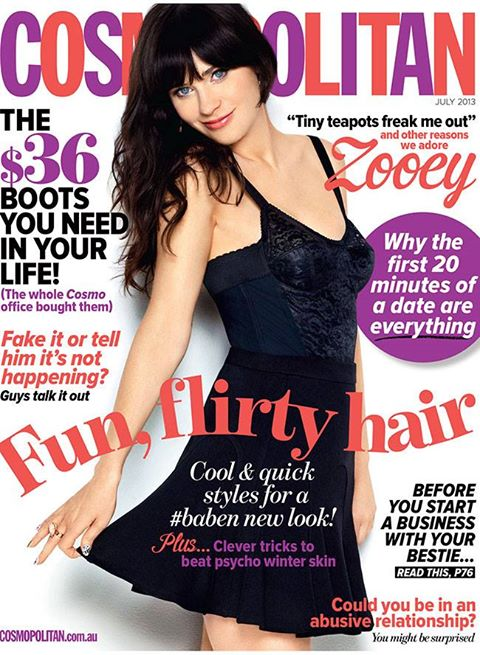 10513 10151693948770917 1844239705 n Zooey Deschael Cosmopolitan Controversy as JULY 2013 COVER 2012 RETREAD
