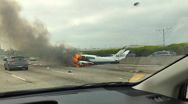 WATCH Moment Of IMPACT: Plane CRASH LANDS On Busy CA 405