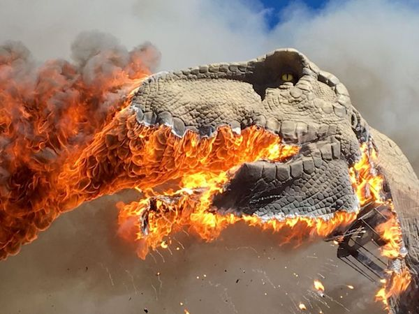 Extinct Animatronic T Rex Goes Up In Flames At Colorado