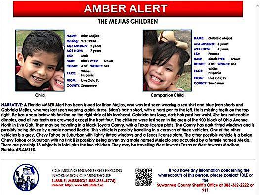 FL Amber Alert: Suwannee Boy And Girl
