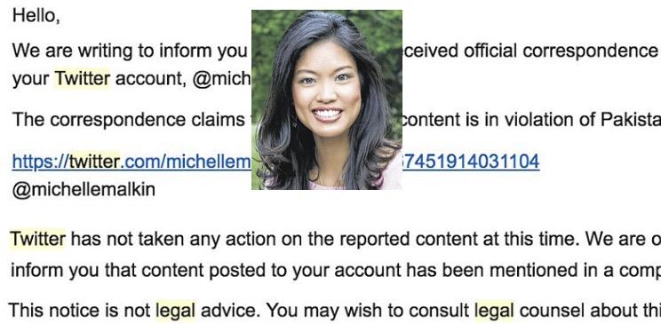 """22b7cd8fb Michelle Malkin Receives Notice From Twitter Advising Her She Broke  """"Pakistan Laws"""" In Tweet"""