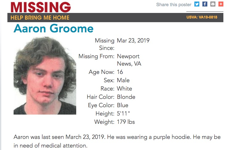 Missing VA Teen Aaron Groome Believed Victim Struck By