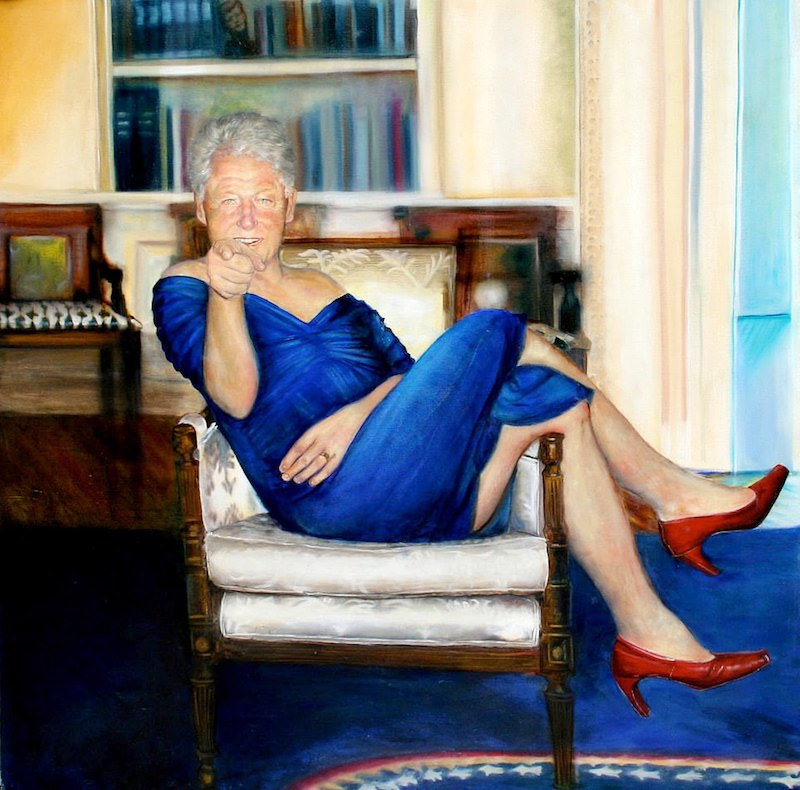 Bill Clinton Blue Dress Painting