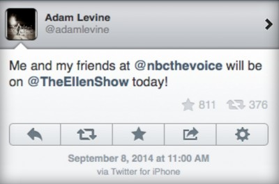 Adam Levine tweets from an iPhone