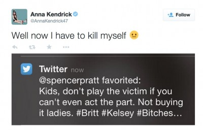 Anna Kendrick  tweet spencer pratt