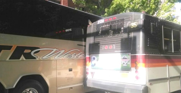 Antonio Spurs Team Bus COLLIDES With City Bus