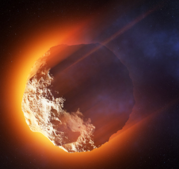 Burning asteroid entering the atmoshere