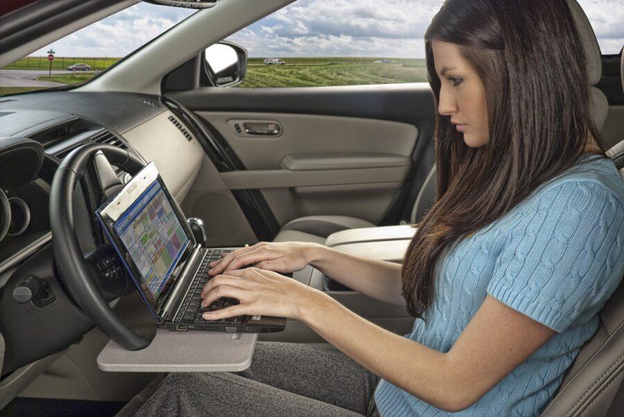 AutoExec Wheelmate Steering Wheel Attachable Work Surface Tray 2