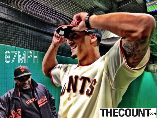 BNVNQrHCQAA8Euk SF QB Colin Kaepernick Throws 87 MPH First Pitch At Giants Game