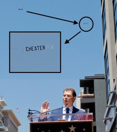 Bobby Flay Hollywood Star cheater banner 400x451 CHEATER Banner Flies Overhead As Bobby Flay Receives Hollywood Star