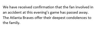 Braves organization fan dies statement