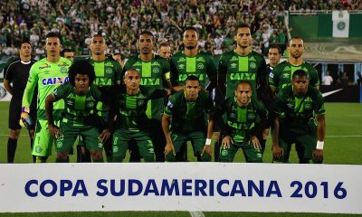 Brazilís Chapecoense players pose for pictures during their 2016 Copa Sudamericana semifinal second leg football match in Chapeco, Brazil, on November 23. Photograph: Nelson Almeida/AFP/Getty Images