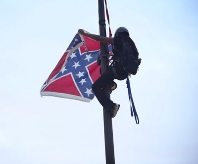 Bree Newsombe Confederate flag 3 400x331 Woman ARRESTED After Removing Confederate Flag SC State Capitol