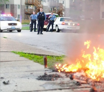 Burned Down Mike Brown Memorial 4