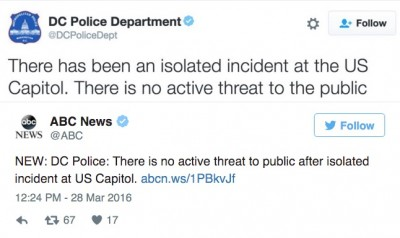 Capitol Visitor Center complex lockdown twitter