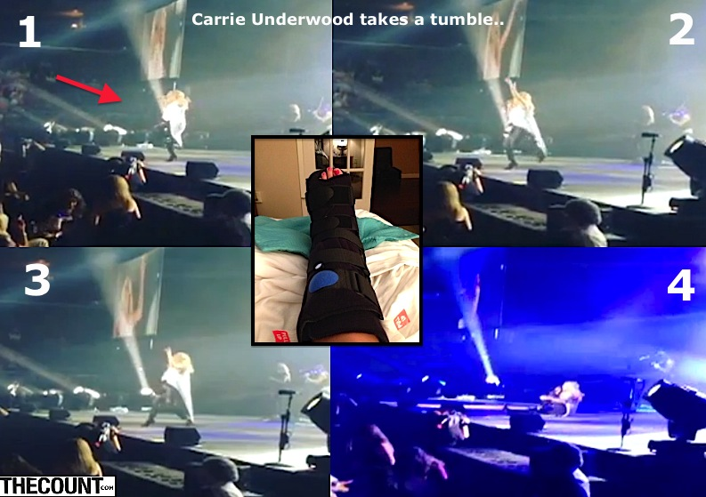 Carrie Underwood falls on stage