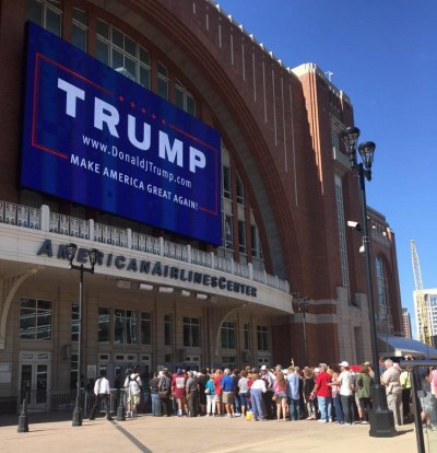 Dallas Trump Rally dallas American Airlines line outside
