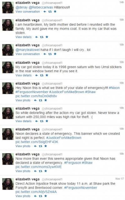 Elizabeth Vega tweet car stolen