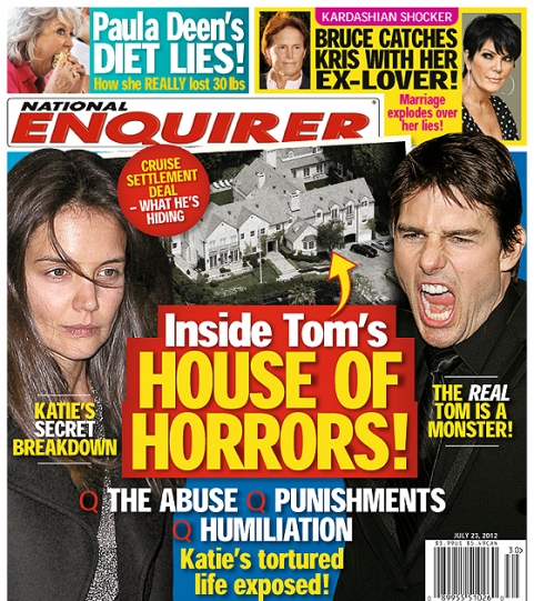 EnquirerHouseofHorrorsTomKat Tom Cruise Flips Out Over House Of Horrors Enquirer Cover