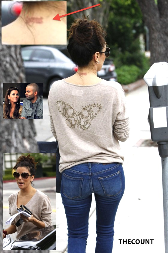 Eva Longoria In jeans out in Beverly Hills 06 560x8401 Eva Longoria Painful Neck Tattoo Removal In Progress