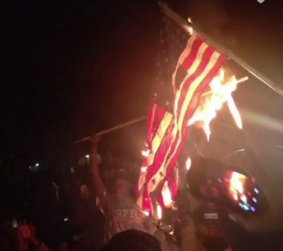Ferguson Protesters Burning American Flags 3