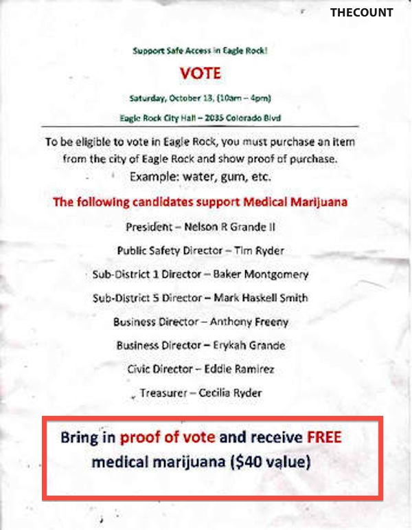 Free Pot for Vote $40 Free Medical Grade POT For California Voters!