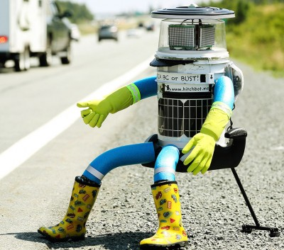 Hitchhiking Robot hitchbot vandalized philly 400x353 HitchBOT Hitchhiking Robot DECAPITATED In Philly