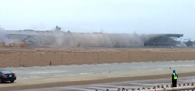 Hollywood Park grandstands imploded