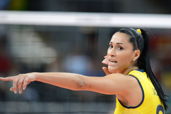 Brazil's Jaqueline Carvalho gestures dur