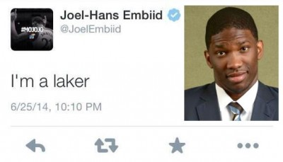 Joel Embiid lakers tweet