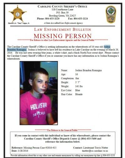 Joshua Brandon Romagna missing persons poster
