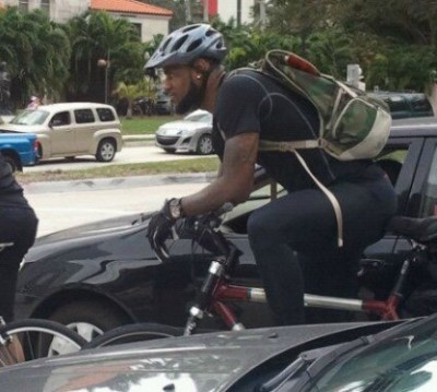 Lebron James riding bicycle