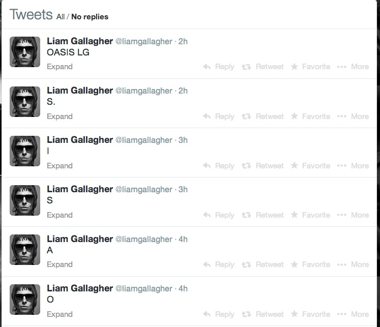 Liam Gallagher twitter oasis reunion