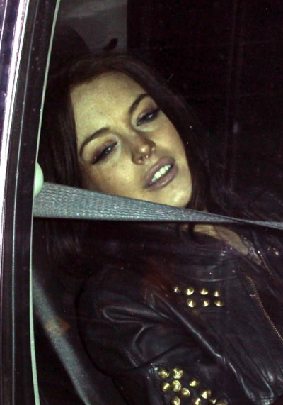 Lindsay Lohan leaves Chateau Marmont in West Hollywood, California.