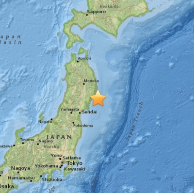 M6.8 earthquake Ofunato, Japan