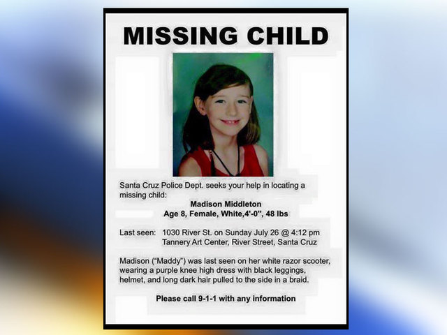 Madyson Middleton, 8 Year-Old, Missing Since Sunday, July 26, 2015 -- Santa Cruz, CA Madyson-Middleton-missing-flyer