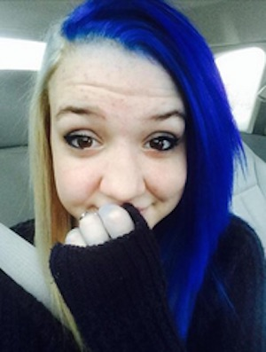 Maegan Galloway blue hair school