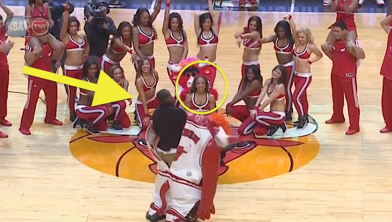 Man Pops Out Of Mascot Costume To Propose To Bulls Cheerleader