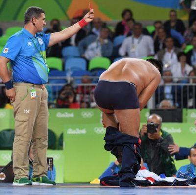 Mandakhnaran Ganzorig Mongolia Ikhtiyor Navruzov 400x397 Mongolian Wrestling Coaches DISROBE To Protest Bad Call During Olympics