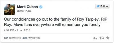 Mark Cuban Roy Tarpley rip tweet