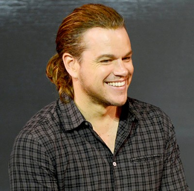 Matt Damon ponytail 400x394 RUMOR: Matt Damon Planning On Pulling a Caitlyn Jenner?