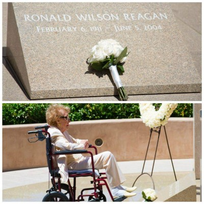 Nancy Reagan visits ronald grave