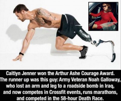 Noah Galloway Caitlyn Jenner1 400x332 Caitlyn Jenner Beat Out THIS GUY To Win Arthur Ashe Courage Award