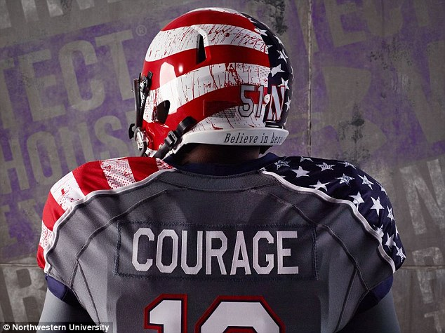 Northwestern University has sparked outrage after it unveiled special edition 'blood splattered' football uniforms 2