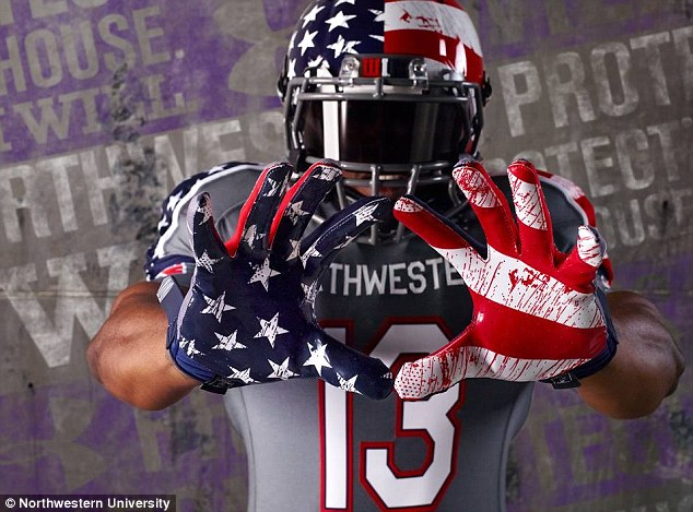 Northwestern University has sparked outrage after it unveiled special edition 'blood splattered' football uniforms