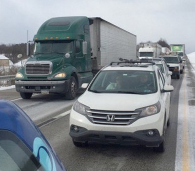 PA I 78 Pileup accident scene 400x351 Fatalities Reported In Massive 60 Car PA I 78 Pileup