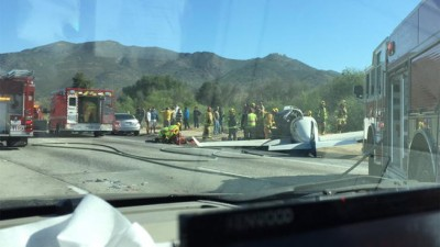 Plane Crashes Into Car After Going Down On San Diego freeway