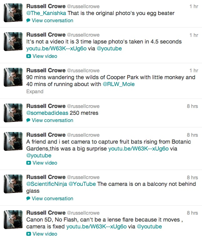 RUSSELL CROWE UFO 2 Russell Crowe Catches UFO on Camera Posts On Twitter ((Video))