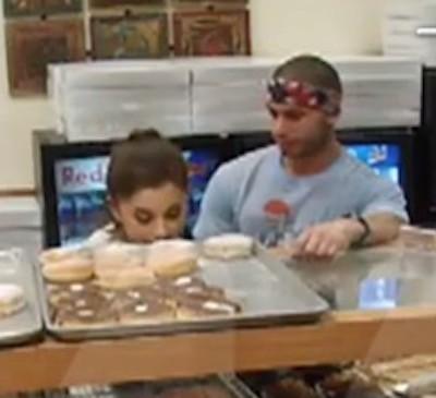 Ricky Alvarez ariana grande licking donut