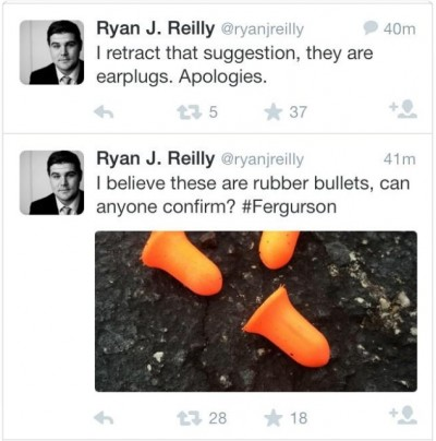 Ryan Reilly earplug tweets twitter 400x404 Huffpo Ferguson Reporter Mistakes EARPLUGS For Rubber Bullets